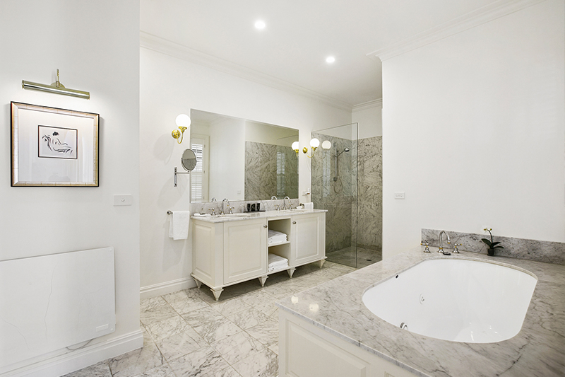 Marble Bathroom in Lakeside Chalet at Woodman Estate
