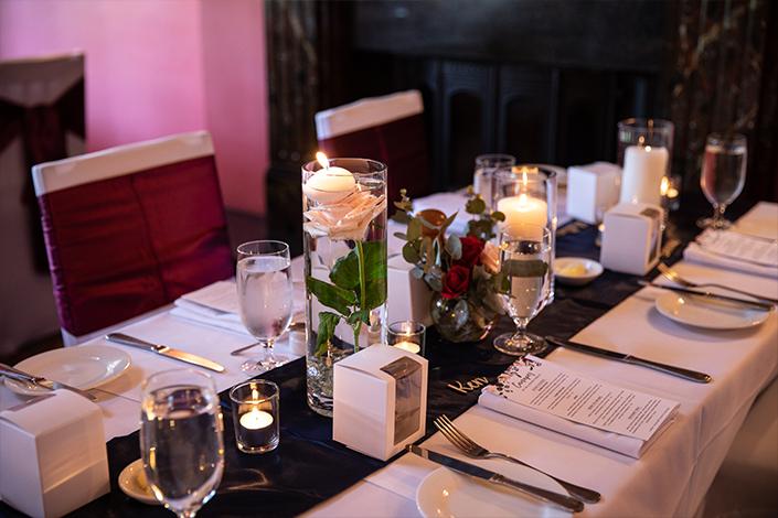Wedding table at Woodman Estate