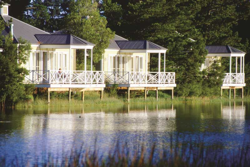 Lakeside chalets at Woodman Estate