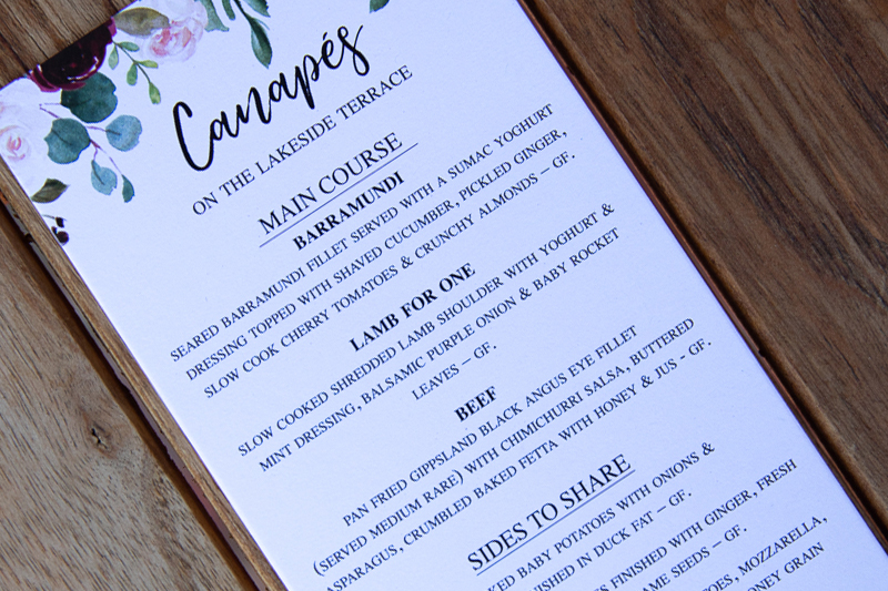 Wedding menu example at Woodman Estate